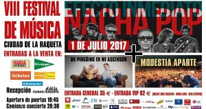 Concierto de los 80 con Nacha Pop, Un Pingüino y Modestia Aparte en el Festival de Música de Ciudad de la Raqueta